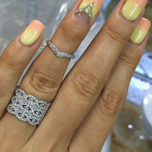 Кольцо на весь палец серебряное