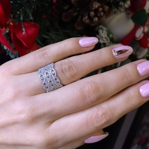 Серебряное кольцо широкое фото