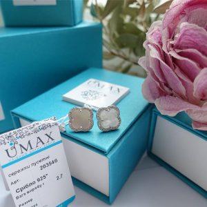 Серебряные серьги гвоздики Ван Клиф с камнями фото