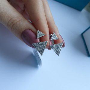 Серебряные серьги трансформеры треугольники фото