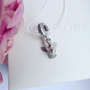 Серебряный подвес птичка с камнями фото