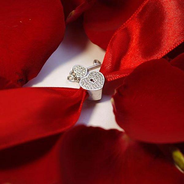 Серебряный подвес сердце замочек и ключ фото
