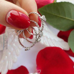 Серебряное разборное кольцо 4 сердца фото