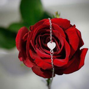 Серебряный браслет с сердцем с камнями фото