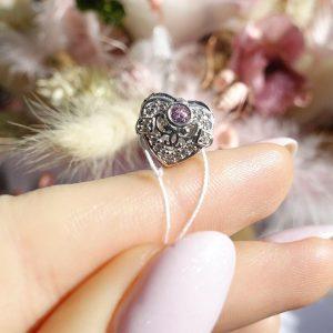 Серебреный подвес сердце с камнями фото