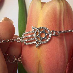 Серебряный браслет рука Фатимы фото