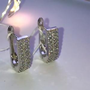 Серебряные серьги с цирконием фото