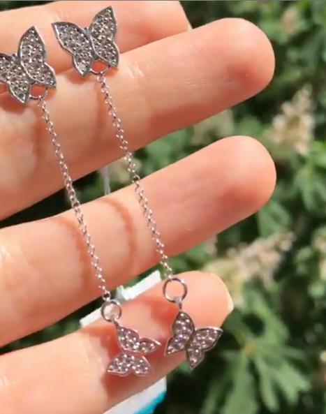 Серебряные серьги-подвесы бабочки фото