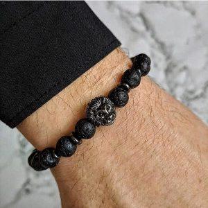 Мужской браслет LION DARK || lava черный фото