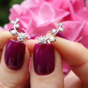 Серебряные серьги цветы с камнями фото
