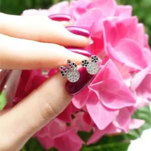 Серебряные серьги Микки Маус с камнями фото