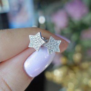 Серебряные пусеты звезды фото