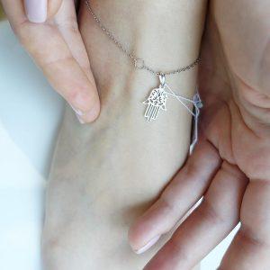Серебряный браслет на ногу фото