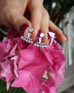 Серебряные серьги джекеты с камнями фото
