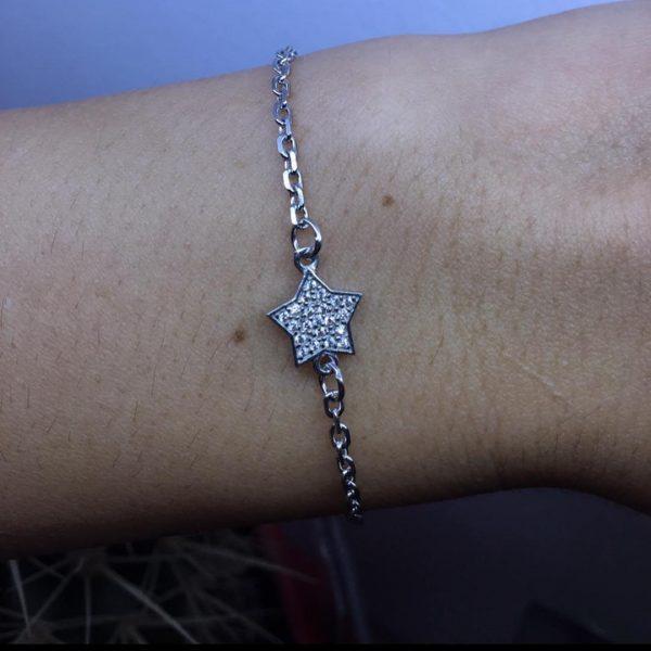 Серебряный браслет звезда с камнями фото