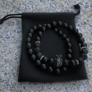 Мужской браслет KING LEONEL || matte & lava stone фото