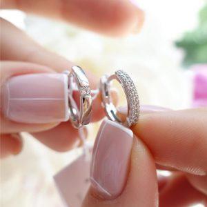 Серебряные серьги двухсторонние с камнями фото
