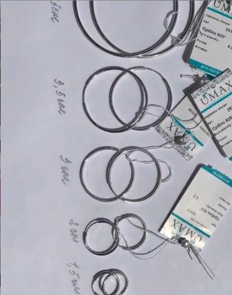 Серебряные серьги-кольца 2 см диаметр фото