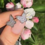 Серебряные детские серьги бабочки Van Cleef фото