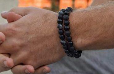 Мужской браслет DOUBLE MOTION || black & grey из бусин фото