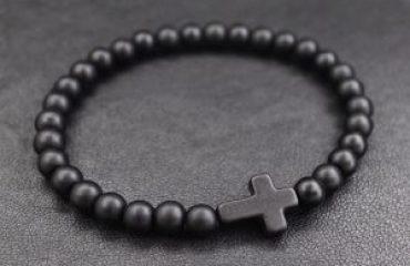 Мужской браслет BLACK CROSS MATTE из бусин фото