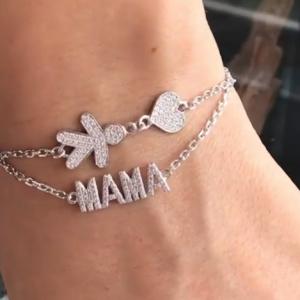 Серебряный браслет мама с камнями фото