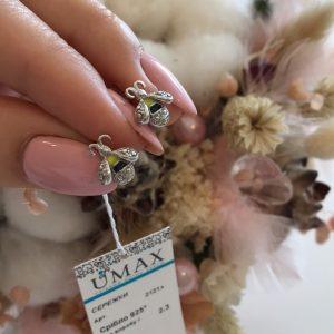 Серебряные серьги пчелки с камнями фото