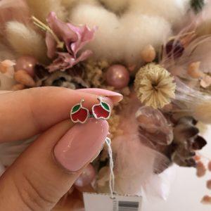 Серебряные детские серьги яблоки фото
