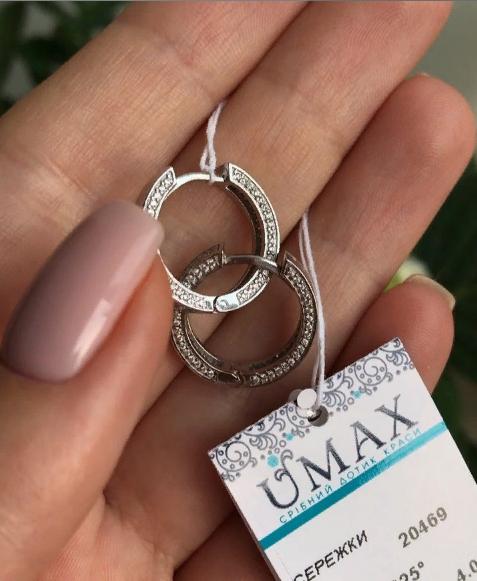 Серебряные серьги кольца с камнями 001.098 фото