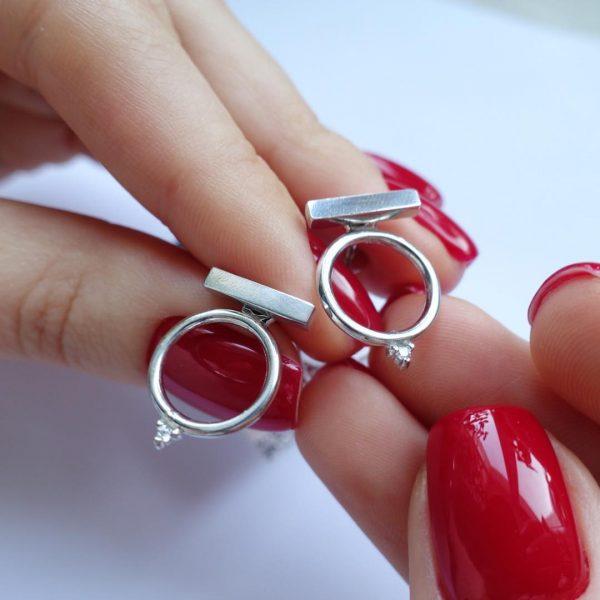 Серебряное серьги кольца 001.183 фото