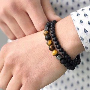 Мужской браслет из натуральных камней SIMPLE SHUNGIT 001.203 фото