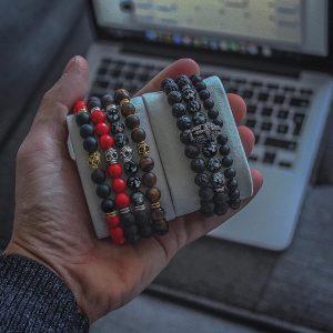 Мужской браслет из натуральных камней SKELETON SILVER 001.210 фото