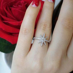 Серебряное кольцо звезда с цирконием фото