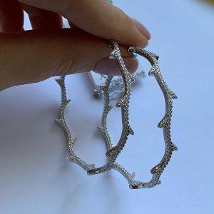 Серебряные серьги ветвь с цирконием фото