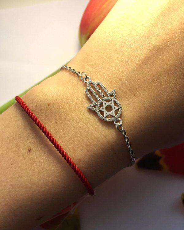 Серебряный браслет рука Фатимы с камнями фото