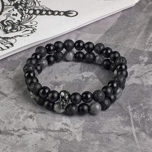 Комплект браслетов MOTION || black & grey larvikite и FACETED SKULL || all black фото