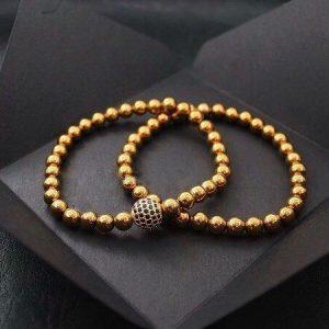 Комплект из двух браслетов DOUBLE CELESTIAL || golden hematite фото