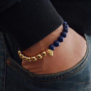 Мужской браслет Shambala ANTIQUE SKULL || gold & blue фото