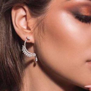 Серебряные серьги гвоздики полумесяц фото