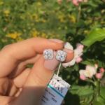 Серебряные детские серьги Van Cleef цветок фото