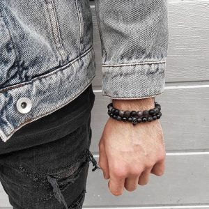 Мужской браслет MOTION || black & grey larvikite из бусин фото
