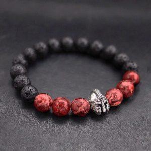 Мужской браслет SPARTAN SILVER || red & lava из бусин фото