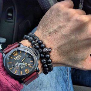 Мужской браслет KING LEONEL || matte & lava stone из бусин фото