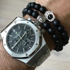 Мужской браслет HAMSA SILVER || matte stone из бусин фото