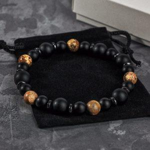 Мужской браслет KARMA || black & desert из бусин фото