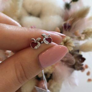 Серебряные серьги гвоздики яблоки с цирконами фото