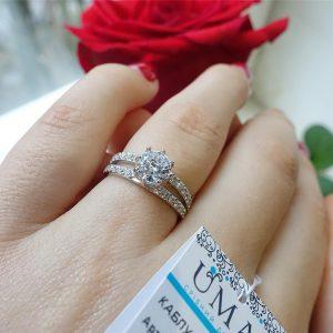 Серебряное кольцо с камнями 001.195 фото