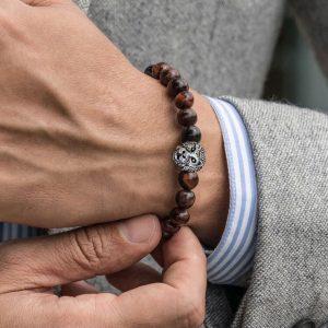 Мужской браслет из натуральных камней SILVER LION || bull eye 001.211 фото